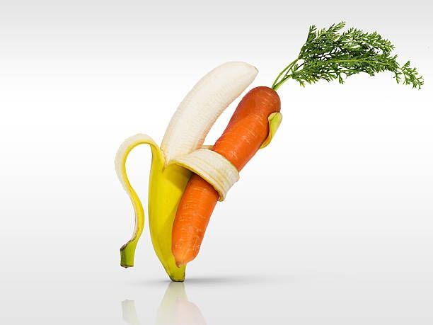 diet-food-carrot-and-banana-dance-for-health-picture-id178627122 612×459 pixels