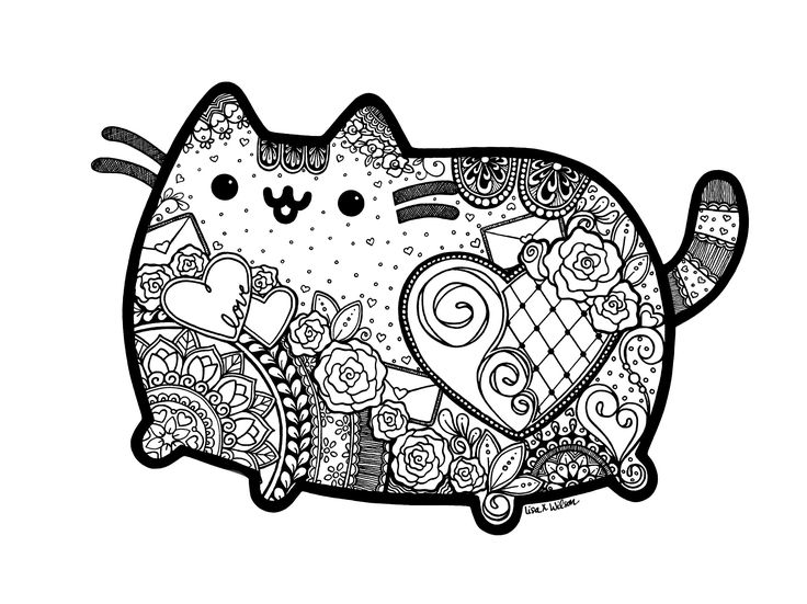 Pusheen Inspired Zentangle With Mandalas. Great Coloring