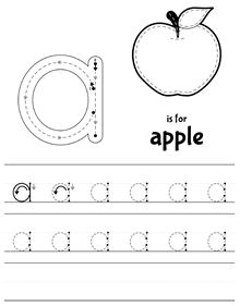 lowercase are here letter a is for apple free tracing worksheet llegaron las min sculas. Black Bedroom Furniture Sets. Home Design Ideas