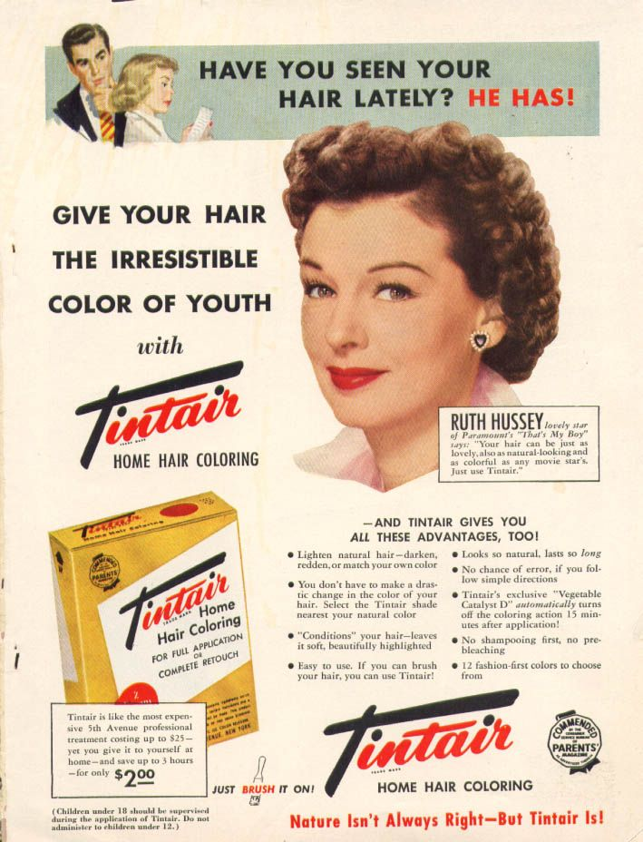 0 Ruth Hussey for Tintair Home Hair Coloring ad 1951