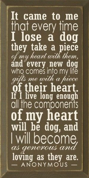 It came to me that every time I lose a dog they take a piece of my heart with them, and every new dog who comes into my life gifts me with a piece of their heart. If I live long enough all the components of my heart will be dog, and I will become as