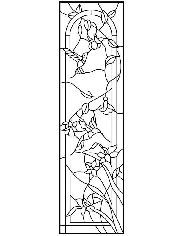 hummingbirds and flowers transom