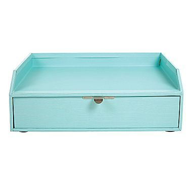 Office by Martha Stewart™  Stack+Fit™ Inbox with Drawer, Blue (28801) | Staples