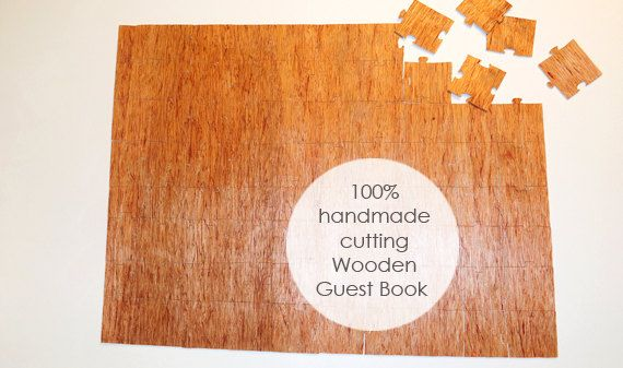 Guest Book Wedding Puzzle Wood 80 pieces   hand by mywoodydinner