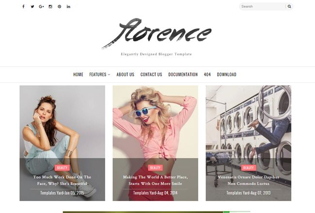 #fashion #blogger #template #stylish #personal #travel #theme #fashionista #vogue #vs   Florence is a light weight and fast loading blogger template with very clean, minimal and elegant responsive layout. This template is perfect choice for Travel bloggers, lifestyle and fashion bloggers, stylish female entrepreneurs, a business or personal. From Fashion, to Food, to Photography, this multipurpose template will fit any blog niche.