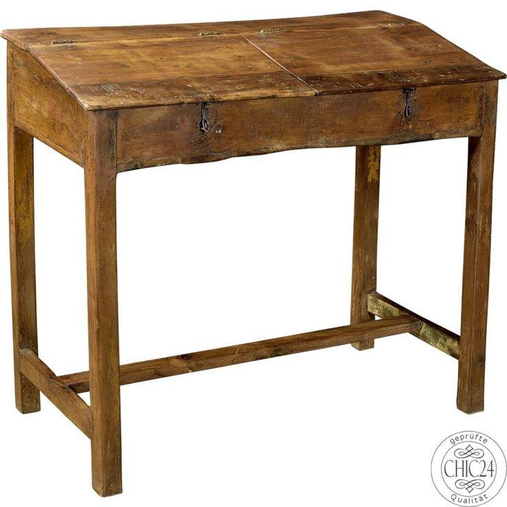 Antikes Schreibpult aus Holz und klappbarer Platte - chic24 - Vintage Möbel und Industriedesign Lampen Online kaufen, € 379,00