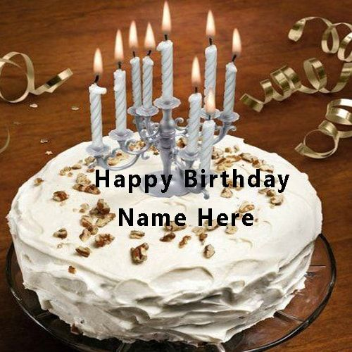 write name on happy birthday cake with candle. happy ...