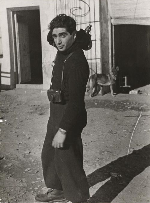 "Robert Capa. ""It's not always easy to stand aside and be unable to do anything except record the sufferings around one."" . . . ""I hope to stay unemployed as a war photographer till the end of my life"""