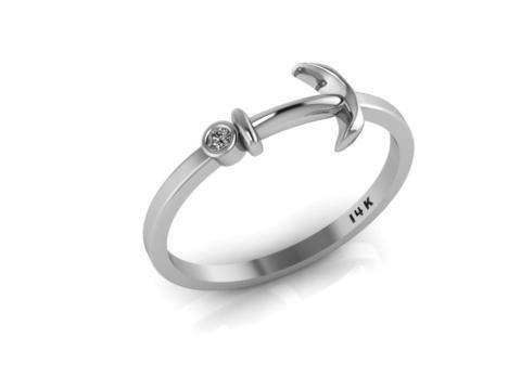 14k White Gold Tiny Anchor Ring with White Diamond