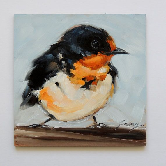 "Barnswallow 5X5"" inch original oil painting of a Barnswallow, sold - Andrea Lavery"