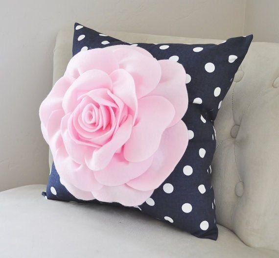 Pillows Modern Home Decor Light Pink Rose Navy White Pillow Polka Dot Pillow Decorative Pillow Polka Dot Pillow