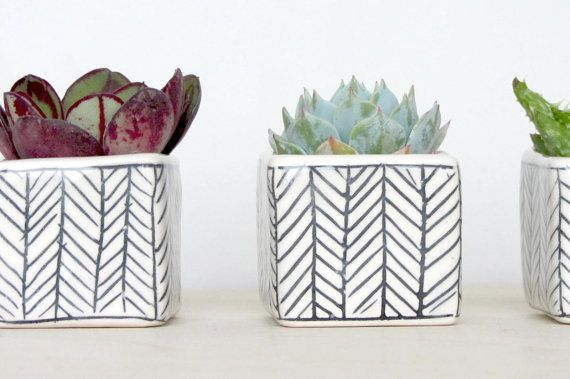 Mini Square Planter with Herringbone Pattern - Single - Made to Order