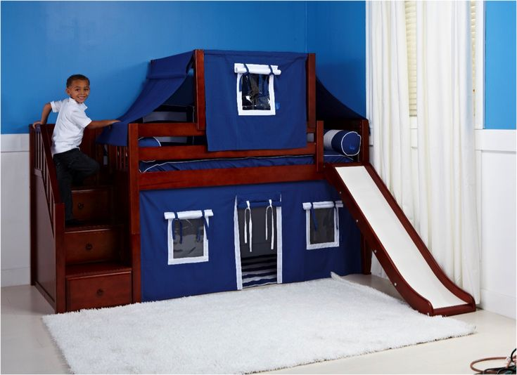 Boys Bunk Bed With Curtains And Slides. Can We Say The Perfect Fort For A