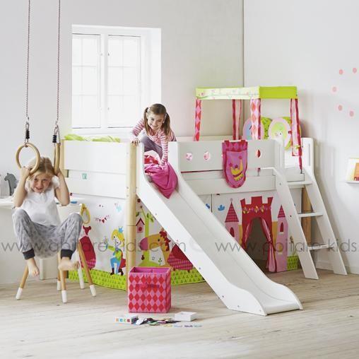 white by flexa lit mi hauteur blanc avec toboggan. Black Bedroom Furniture Sets. Home Design Ideas