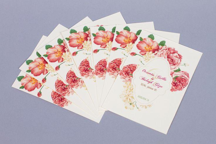 Kártyás esküvői meghívó, vintage esküvő_ card wedding invitation, flowers wedding invitation, vintage wedding