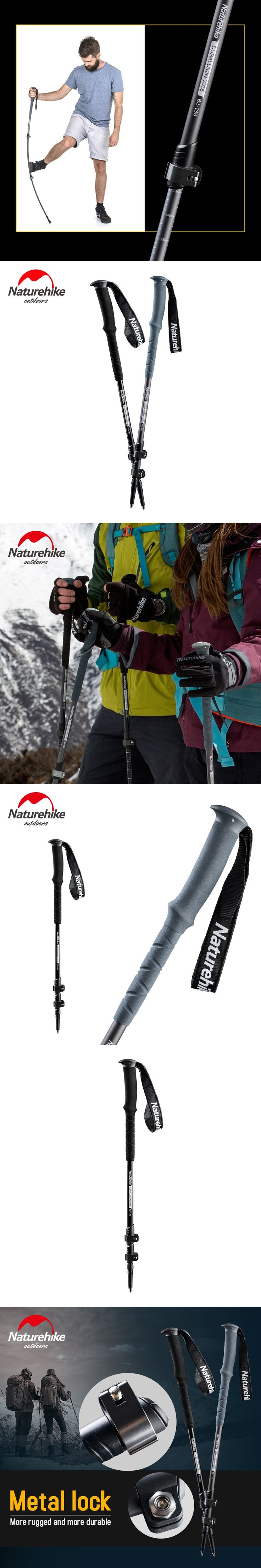 1pc Naturehike Ultra-light Walking Poles Carbon Steel Aluminum Adjustable 3-SectionHiking Alpenstock Trekking Poles 270g