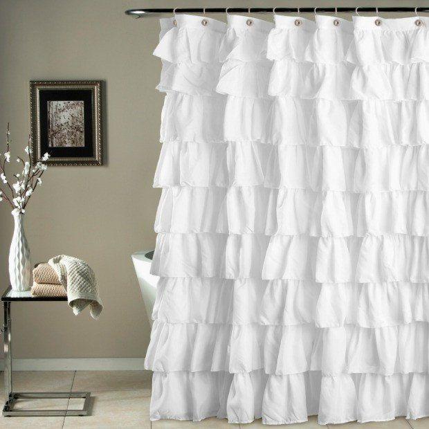 Shabby Chic Ruffled Shower Curtain Ruffle Shower Curtains