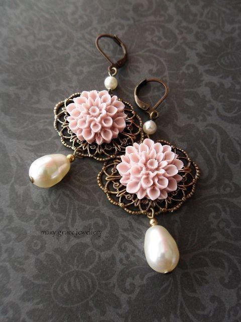 Powdery vintage pink Chrysanthemums on antique gold filigree and Swarovski pearls.