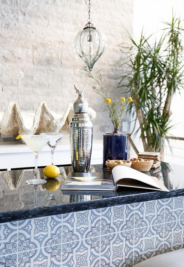 Beach inspired home bar