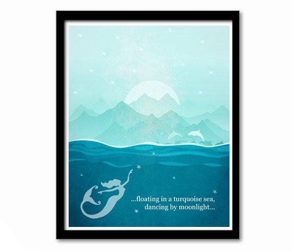 Mermaid Poster, Coastal Art, Sea Print, Quote Art, Literary Quote, Blue and Green, Typography Poster, Ocean Print, Aqua Print, Ocean Art by printdesignstudio on Etsy https://www.etsy.com/listing/183105579/mermaid-poster-coastal-art-sea-print