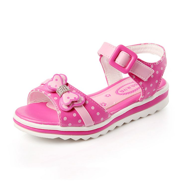 Kids Sandals Girls Summer 2016 New Dot Bow  Shoes For Girls Fashion Princess Fish Head Kids Shoes 9021W