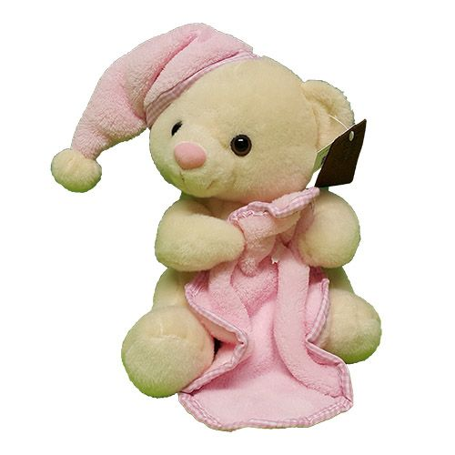 Quality Fruit Baskets. Kraamcadeau Beertje met doek roze     fluweelzacht beertje voor een meisje met roze  muts en doekje hoogte zittend beertje is 20 cm.