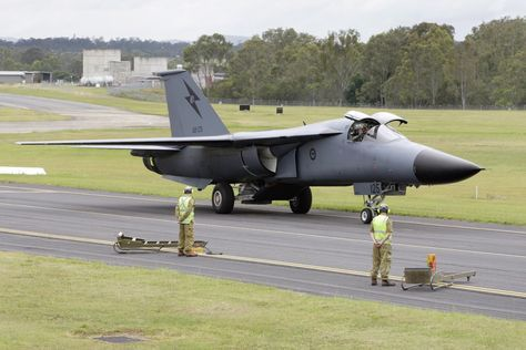 F-111 A8-125 is taxied in for the final time.Operational career of F-111 came to end 3 December 2010 at RAAF Amberley near Brisbane,Australia,as crew in F-111C (serial A8-125) of Royal Australian Air Force touched down for last landing.RAAF operated F-111 since 1973.A8-125 was 1st F-111C to land at Amberley that year.Australia ordered 24 of the swing-wing F-111s in November 1963, thirteen months before the aircraft was first flown.
