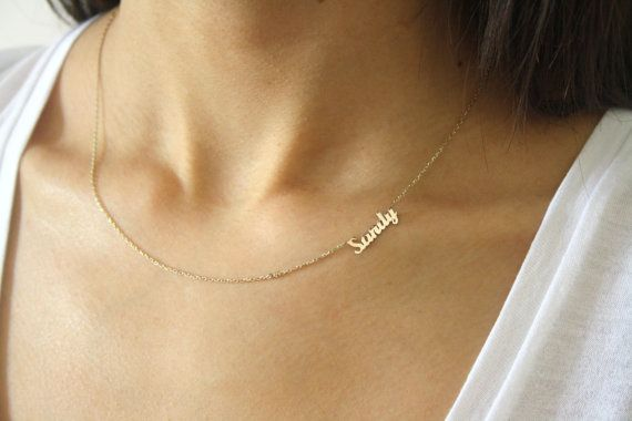 14k Gold Sideways Name Necklace ~ Personalized Mini Name Necklace ~ Name…