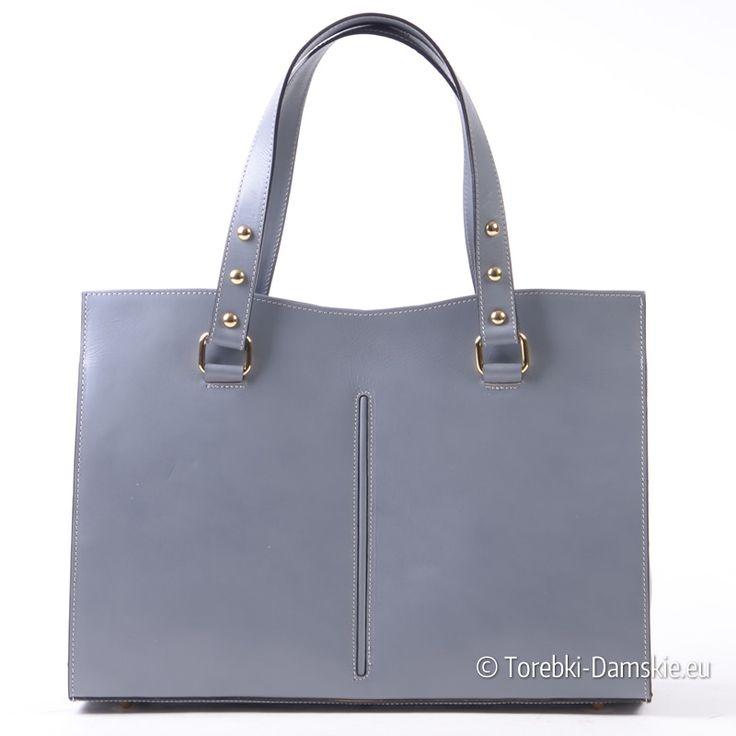Popielata skórzana włoska torebka damska A4 - stylowy kuferek/teczka ze złotymi ozdobnymi metalowymi elementami - Kliknij i zobacz http://torebki-damskie.eu/kuferki/1543-wloska-popielata-skorzana-torba-kuferek-a4.html