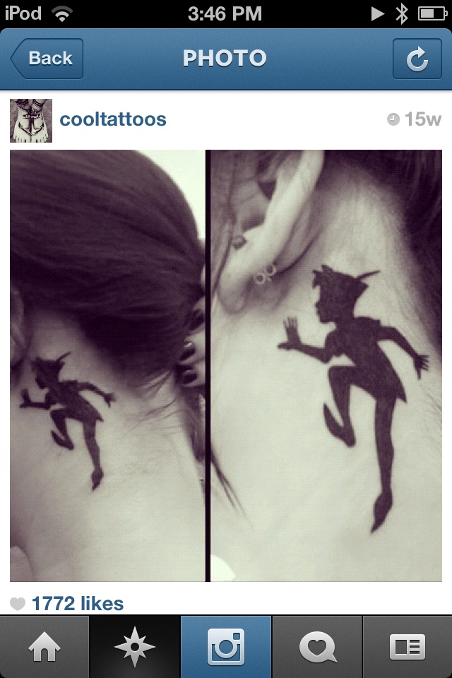 Peter pan tattoo. Love the placement, but would want it smaller.