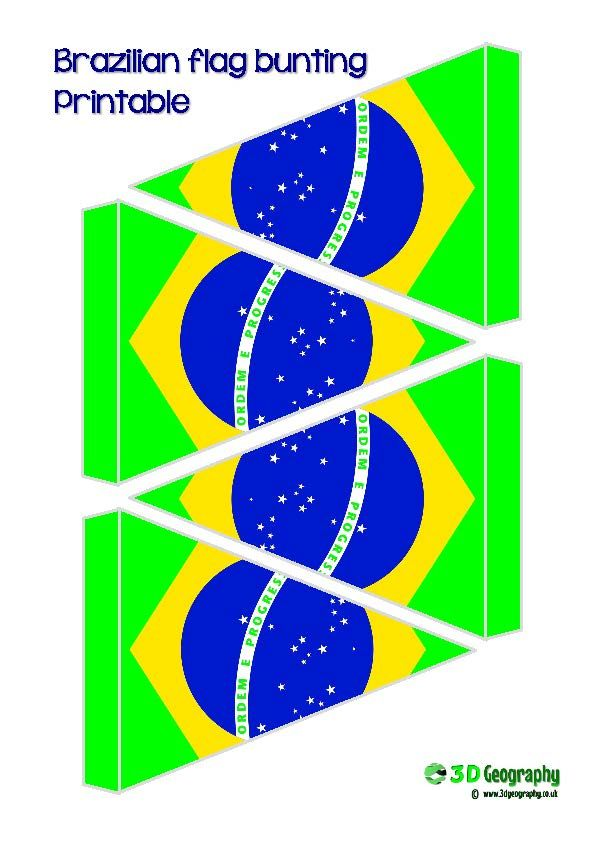 Great, free, printable flag bunting for Brazil.
