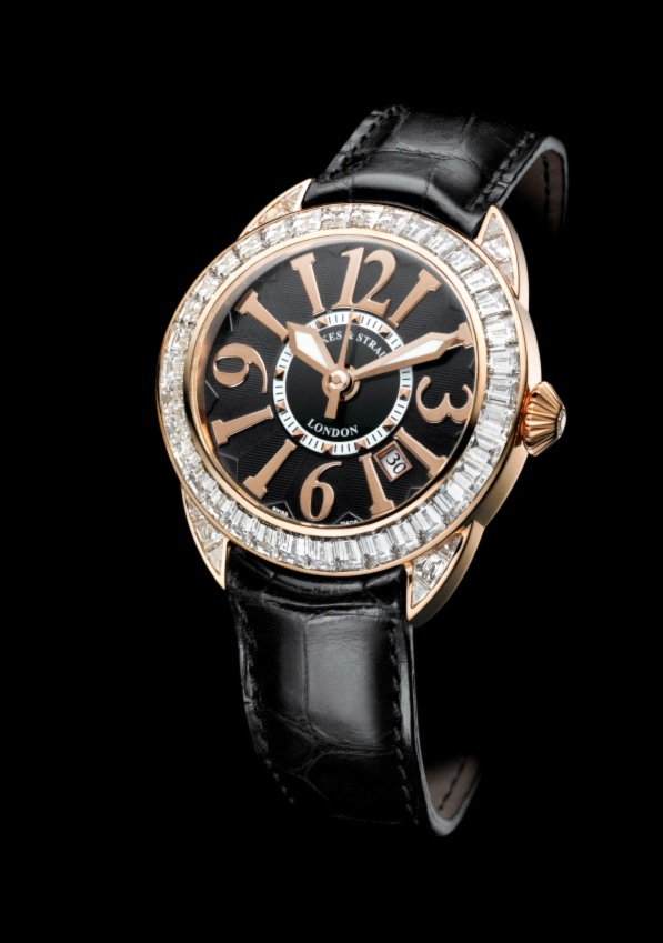The Piccadilly baguette collection - a black dial that highlights the pink gold arabic numerals - Discover more on www.backesandstrauss.com