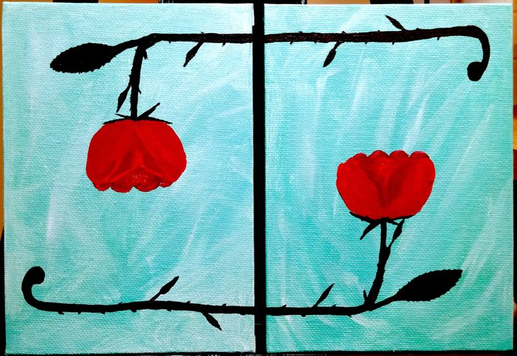 Simple yet beautiful acrylic painting of two roses - Brian Sloan Paintings - $25