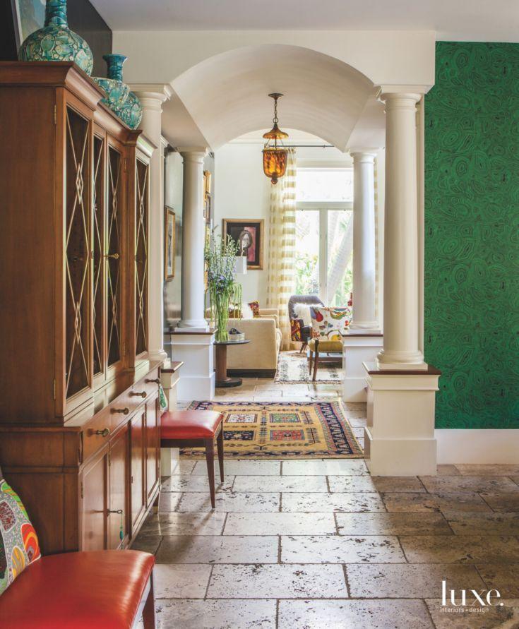 Tuscan Style Decorating Dining Room Travertine Floor