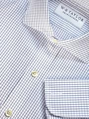 Bespoke Mens Navy Wire Check Shirt in Various Options  - whtshirtmakers.com