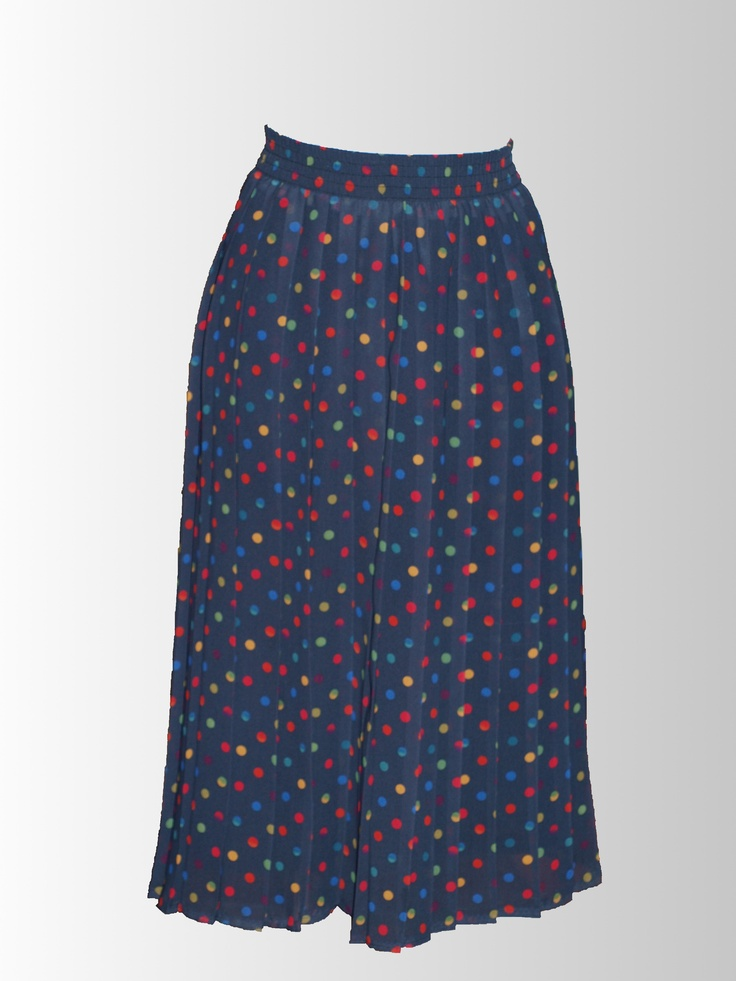 1980's Polkadot Pleated Skirt from www.sixesandsevensvintage.com at 15.00    It's all about the polka dot pleats!