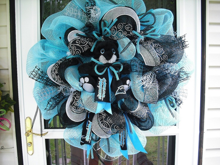 Custom order for Staci only NC Panthers Deco Mesh  Wreath. $112.00, via Etsy.