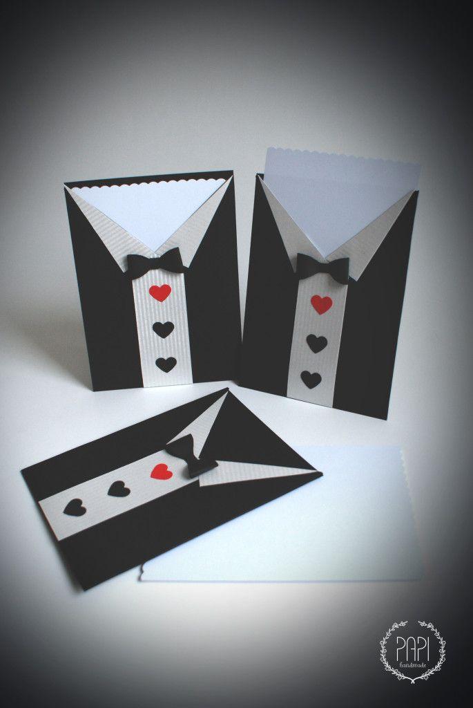 Ręcznie robione zaproszenie ślubne handmade - smoking garnitur ślubny z papieru Handmade Poznań