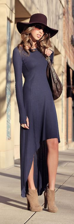 Navy Blue hi-low dress, brown booties, brown floppy hat (maybe add some tights?) - done!