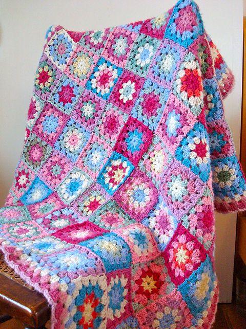 flower granny square blanket, afghan