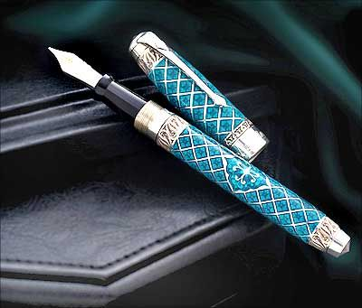 Conway Stewart Westminster Teal Pen ~ The pen takes its design cues from the palace of Westminster with its Gothic style engraving on the cap and barrel. The small diamond-shaped recesses mimic the detail on the palace and the tiny oak leaves are a symbol of England.