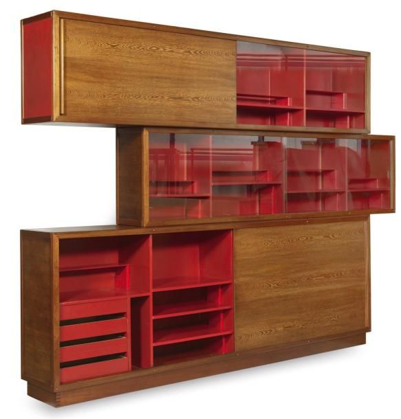André Sornay; Mahogany, Wenge and Glass Storage Unit, c1950. Home decor design furniture