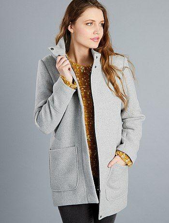 Manteau col montant en lainage                              gris clair Femme  - Kiabi