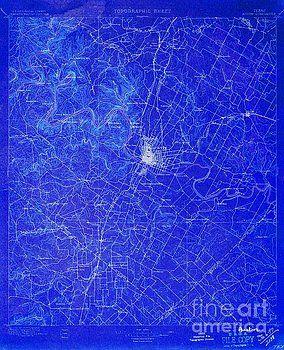 Pablo Franchi - Austin Texas old map, blue background, white lines
