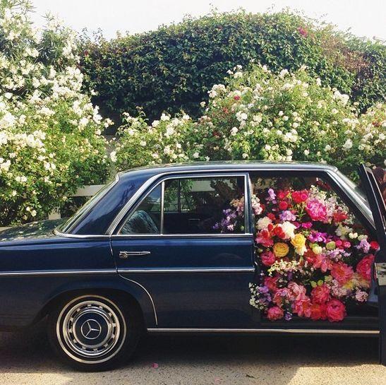 Car full of flowers