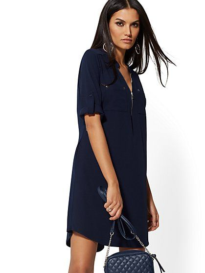 ac233fc528 Zip-Front Shirtdress in 2019 | KN - Fashions | Fashion, Shirt dress ...