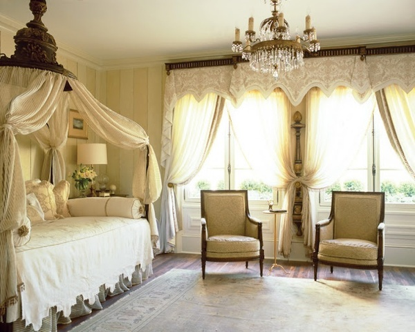 romantic style bedroom in soft cream