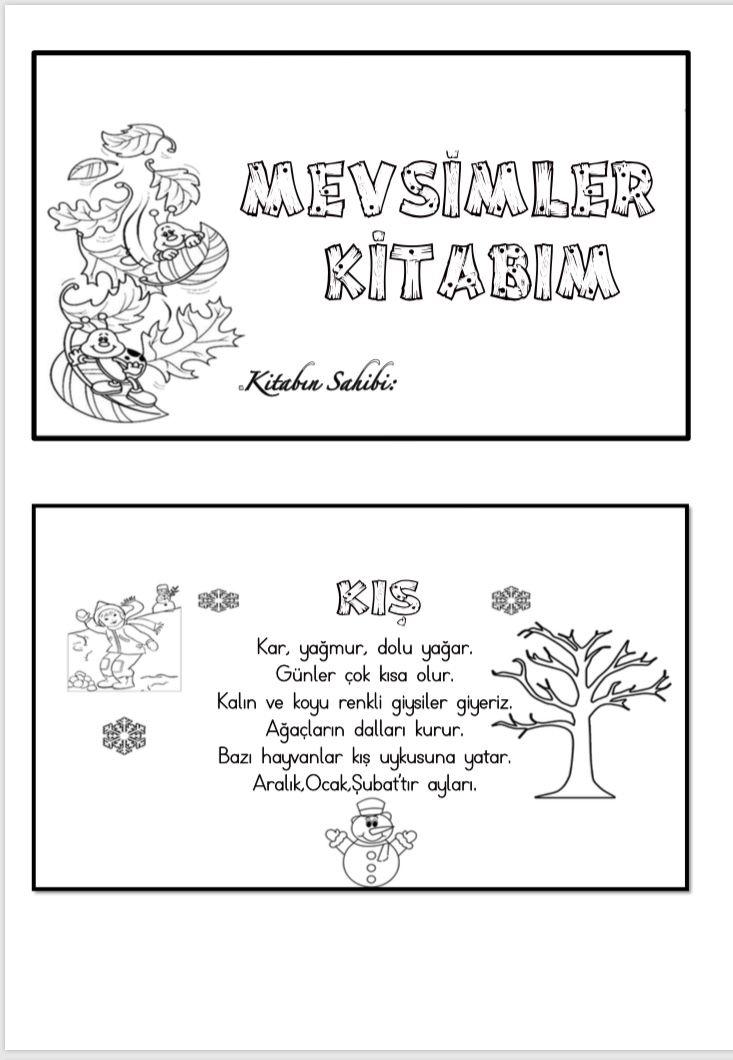 Mevsimler Kitabı çiğdem öğretmen Hayat Bilgisi Pinterest