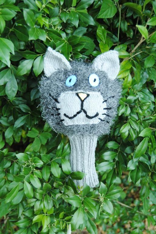 (6) Name: 'Knitting : Golf Club Cover - Cat