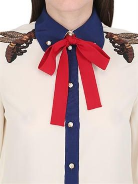 gucci - donna - camicie - camicia in organza di seta e grosgrain